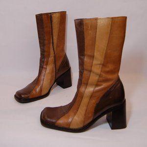 Aldo Brown Leather Zip Up Heeled Boots
